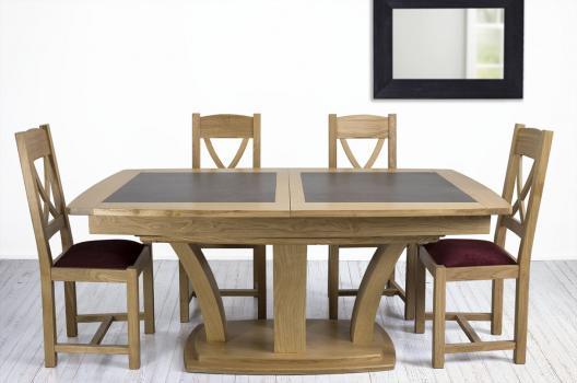Table de repas Contemporaine 180x110 réalisée en Chêne massif avec céramique  IRON GREY