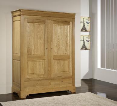 Armoire 2 portes 2 tiroirs Hugo réalisée en Chêne Massif de style Louis Philippe