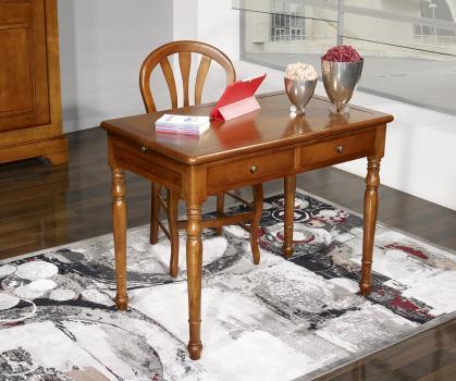 Table d'écriture 2 tiroirs e  en Merisier de style Louis Philippe SUR MESURE 110 X 70