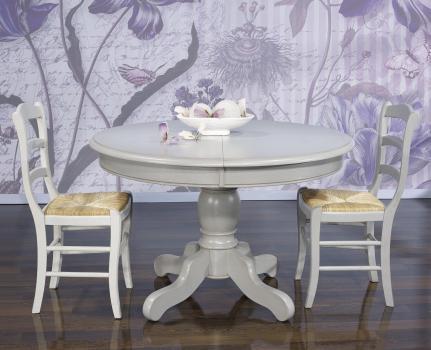 Table ronde pied central réalisée en Chêne Massif de style Louis Philippe DIAMETRE 120 avec 2 allonges de 40 cm Finition Gris Perle