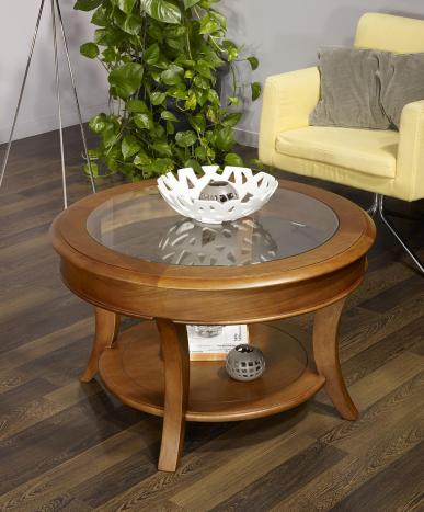 Table basse ronde Gaël  en Chêne Massif de style Louis Philippe Plateau Verre Diamètre 80 cm Finition Cirée