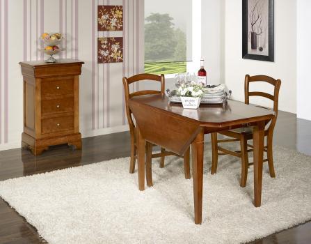 Table à volets octogonale 120x120 réalisée en merisier massif 4 pieds fuseaux 2 allonges de 40 cm
