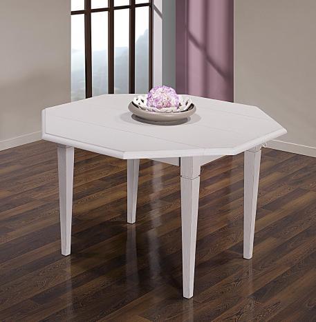 Table à volets octogonale 120x120 réalisée en chêne massif 4 pieds fuseaux 2 allonges de 40 cm  chene brosse gris perle