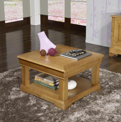 Table basse carrée Ines 65x65 réalisée en Chêne de style Louis Philippe