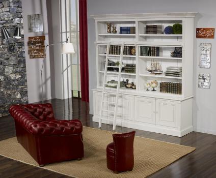 Bibliothèque 2 corps 4 portes Anne-Sophie, réalisée en Merisier Massif de style Directoire AVEC ECHELLE Finition Gris PERLE et IVOIRE