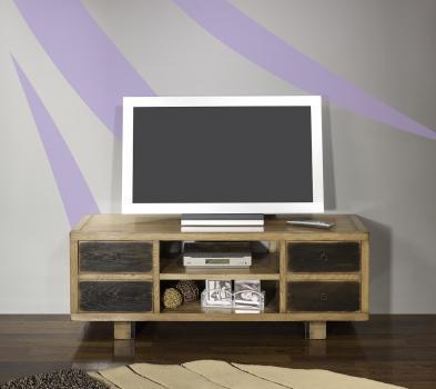 Meuble TV vintage 4 tiroirs réalisé en Chêne Massif de style contemporain