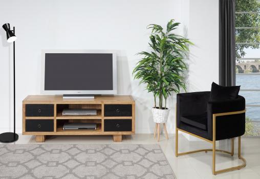 Meuble TV vintage 4 tiroirs  en Chêne Massif de style contemporain