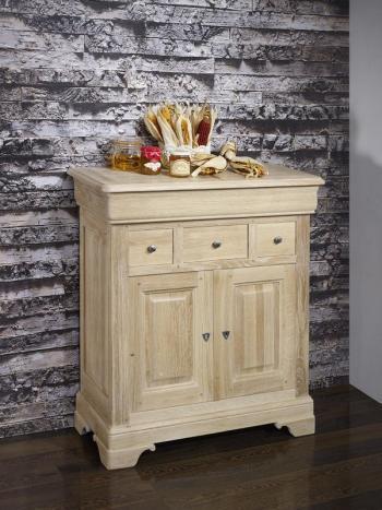 Petit Buffet 2 portes 4 tiroirs Thimoty réalisé en chêne massif de style Louis Philippe