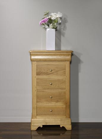 Chiffonnier 5 tiroirs réalisé en chêne massif de style Louis Philippe