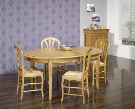 Table ovale 170x110  en Chêne massif de style Louis Philippe avec 2 allonges de 40 cm  Finition Chêne Naturel