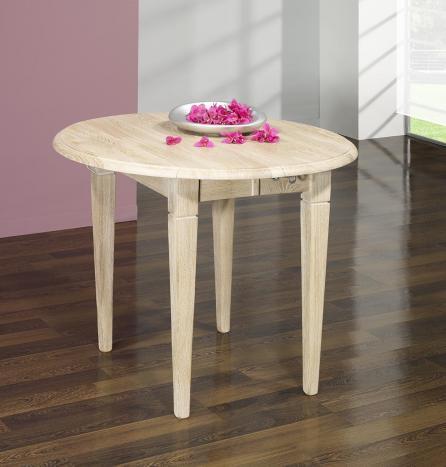 Table ronde à volets diamètre 90 en chêne massif de style Louis Philippe 2 ALLONGES DE 40 CM Finition Chêne Brossé Blanchi