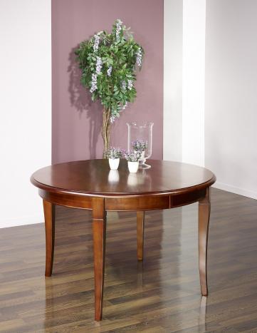 Table ronde Camille 4 pieds sabres  en Merisier Massif de style Louis Philippe + 5 allonges de 40 cm Diamètre 120