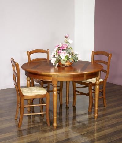 Table ronde 4 pieds plateau marquetté réalisée en Merisier de style Louis Philippe DIAMETRE 120 Finition Merisier Doré vieilli