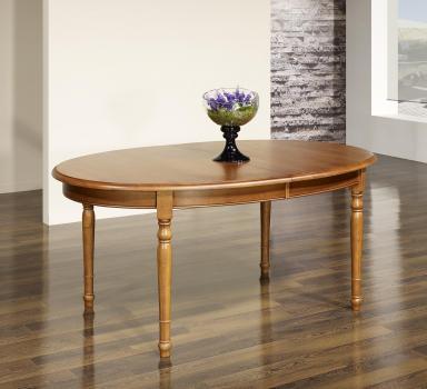 Table ovale 250x110  en Chêne massif de style Louis Philippe 4 pieds tournés plus 2 pieds de renforts avec 4 allonges de 40 cm
