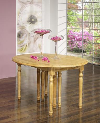 Table ovale à volets 135x110 en chêne massif de style Louis Philippe 5 allonges de 40 cm