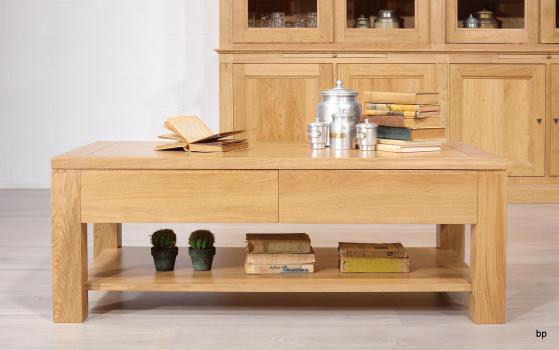 Table basse Jean-Gabriel réalisée en Chêne Massif Ligne Contemporaine 120x60