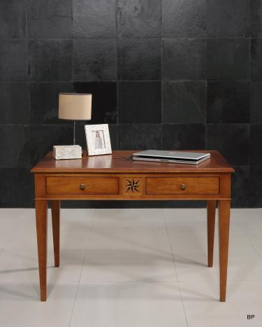 Table d'écriture 2 tiroirs ROSE DES VENTS  en Merisier de style Directoire