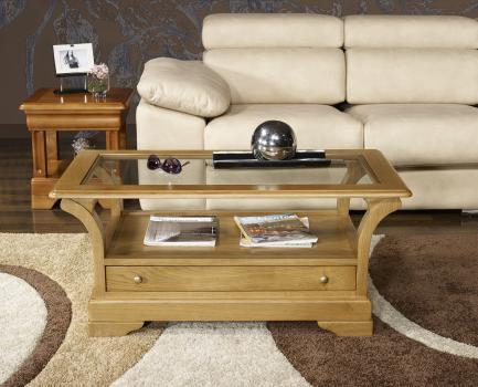 Table Basse Raphael réalisée en Chêne Massif de style Louis Philippe