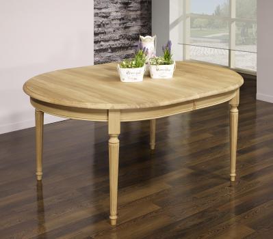 Table ovale 160x120 Lambert réalisée en Chêne Massif de style Louis XVI Finition Chêne Brossé