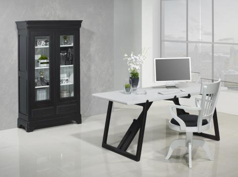 Table de Bureau réalisée en Merisier Massif  de ligne Contemporaine Piétement noir usé et patiné, Plateau IVOIRE