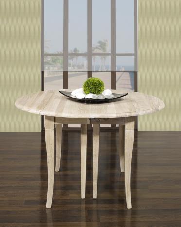Table ronde à volets Marius, Diamètre 120 réalisée en chêne massif de style Louis Philippe 7 allonges de 40 cm