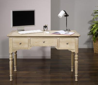 Bureau 1/2 ministre jean-charles en chêne de style louis philippe finition chêne brossé blanchi