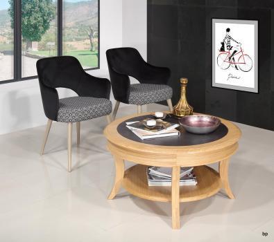 Table basse ronde Gaël réalisée en Chêne Massif de style Louis Philippe Céramique noir incrustée