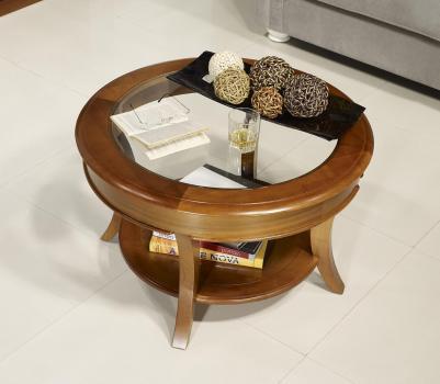 Table basse ronde Melodie réalisée en Merisier Massif de style Louis Philippe Plateau Verre Diamètre 70 cm