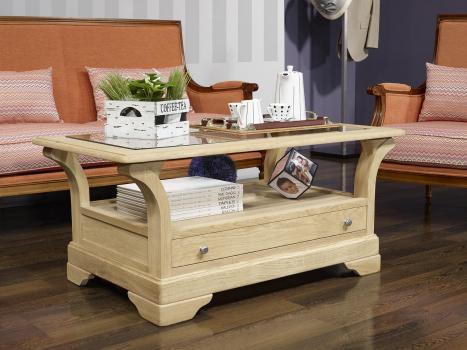 Table Basse Raphael  en Chêne Massif de style Louis Philippe  Finition Chêne Brossé SEULEMENT 1 DISPONIBLE
