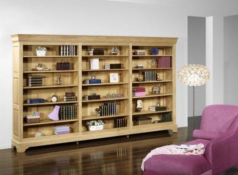 Bibliothèque Simon réalisée en Chêne massif de style Louis Philippe Longueur 310 cm