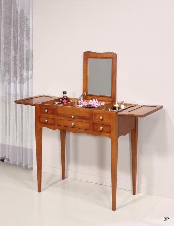 Table de toilette ou Coiffeuse Emma réalisée en merisier de style Louis Philippe