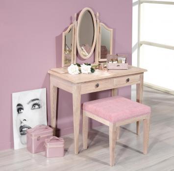 Table de toilette ou Coiffeuse Coralie réalisée en chêne de style Louis Philippe Finition Chêne Brossé Blanchi