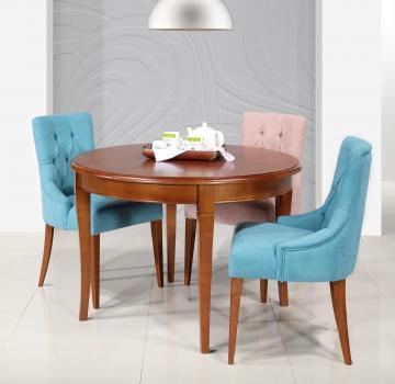 Table ronde 4 pieds Juliette, réalisée en Merisier Massif de style Louis Philippe 1 allonge portefeuille Diamètre 110