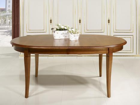 Table Ovale Julie, 180x120 réalisée en Merisier Massif de style Louis Philippe 7 ALLONGES DE 40 CM plus 2 pieds de renforts