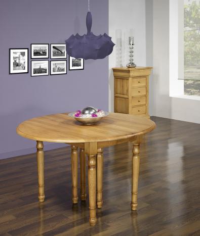 Table ronde à volets DIAMETRE 110  en chêne massif de style Louis Philippe 6 allonges de 40 cm