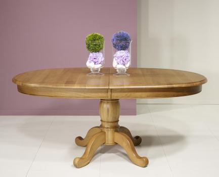 Table ovale 170x100 en Chêne Massif de style Louis Philippe 3 allonges de 40 cm
