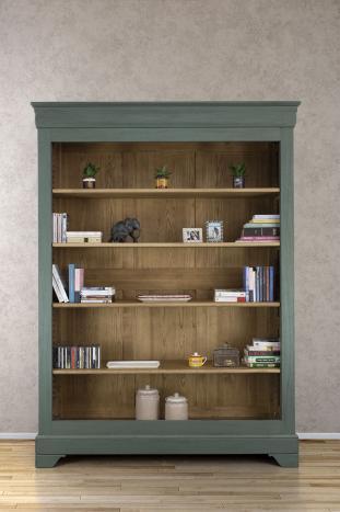 Bibliothèque Thiago réalisée en chêne massif de style Louis Philippe 4 étagères Vert Antik