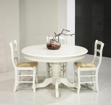 Table ronde pied central réalisée en Merisier Massif de style Louis Philippe DIAMETRE 120 - 2 allonges de 40 cm Finition Ivoire
