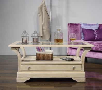 Table Basse Raphael  en Chêne Massif de style Louis Philippe  Finition Chêne Brossé