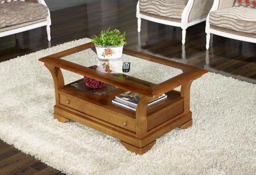 Table Basse Constance réalisée en Merisier Massif de style Louis Philippe Plateau Verre