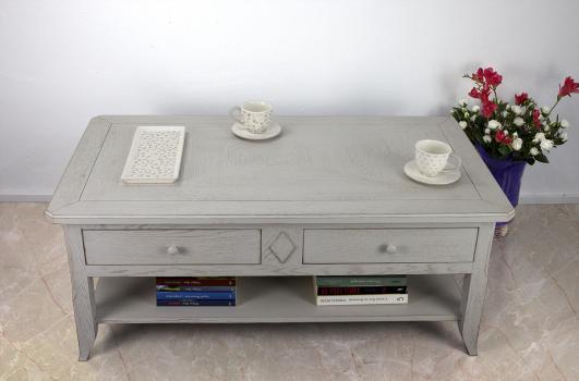 Table Basse Clément réalisée en Chêne de style Louis Philippe PLATEAU MARQUETTE Finition Brossé gris patiné
