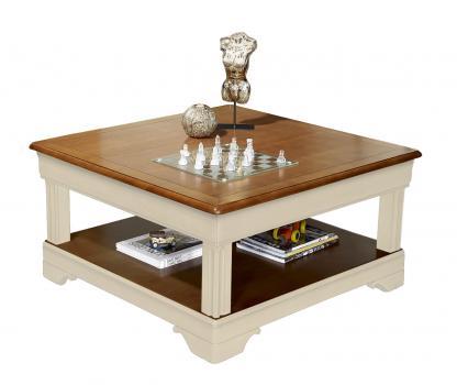 Table basse carrée Anaîs  en Merisier de style Louis Philippe Ivoire et merisier
