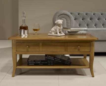 Table Basse rectangulaire Alexandre réalisée en Chêne de style Louis Philippe Longeur 85 cm