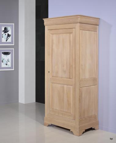 Bonnetiere 1 porte Paul réalisée en Chêne Massif de style Louis Philippe Finition chêne Brossé Blanchi