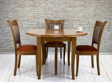 Table ronde à volets DIAMETRE 110 réalisée en Merisier massif de style Louis Philippe 5 allonges de 40 cm SEULEMENT 1 DISPONIBLE