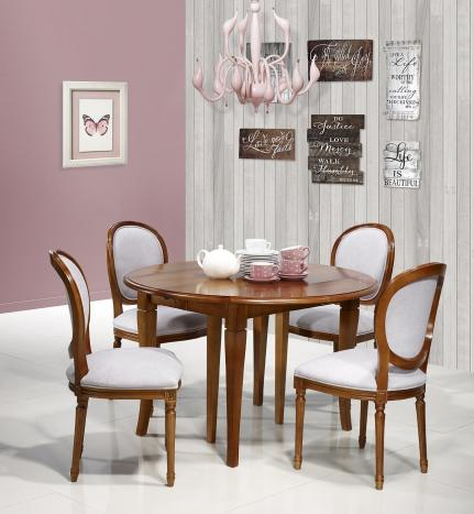 Table ronde à volets   en Merisier Massif de style Louis Philippe 3 allonges de 40 cm