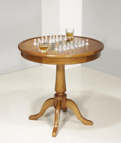 Table ronde à jeux en Merisier de style Louis Philippe Diamètre 77 cm
