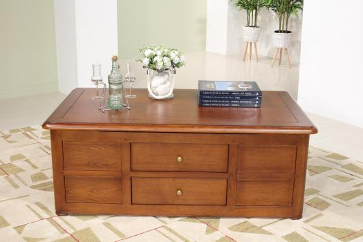 Table Bar   en Chêne de style Louis Philippe avec 2 tiroirs va et vient