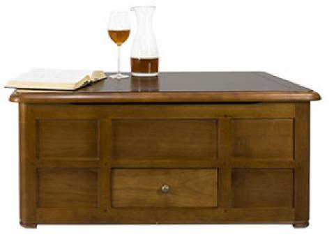 Table Basse Bar Pauline réalisée en Chêne de style Louis Philippe Largeur 100 cm