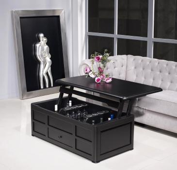 Table Basse Bar Pauline réalisée en Merisier de style Louis Philippe Laqué Noir